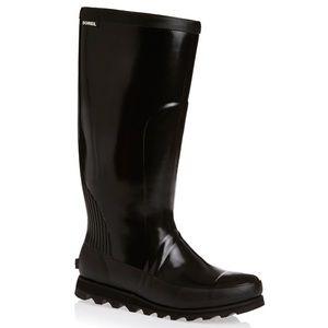 New Sorel Joan Rain Tall Gloss Boot in black